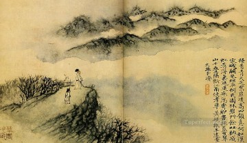 Chinese Painting - Shitao last hike 1707 old Chinese