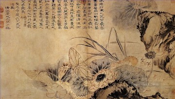 antique Canvas - Shitao on the lotus pond 1707 antique Chinese