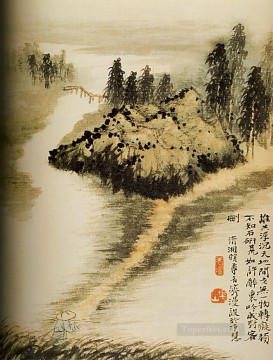 Traditional Chinese Art Painting - Shitao on the other side of the water 1694 antique Chinese