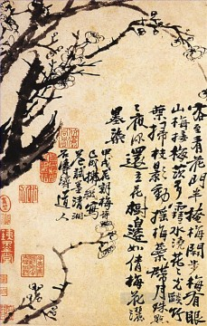 antique Canvas - Shitao prunus in flower 1694 antique Chinese