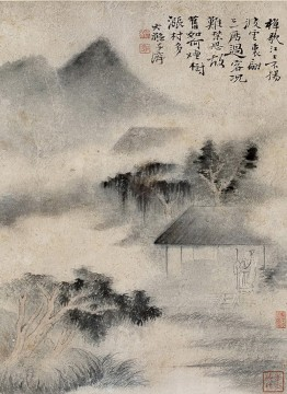 Traditional Chinese Art Painting - Shitao trees in fog antique Chinese
