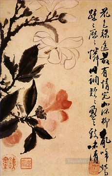 Chinese Painting - Shitao two flowers in conversation 1694 antique Chinese