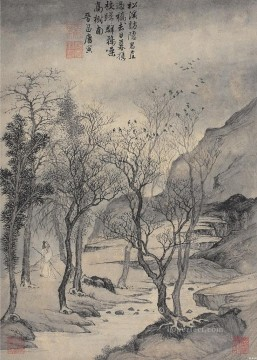 Chinese Painting - Tang yin recluse in mountain antique Chinese