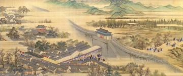 Wanghui south travel of kangxi antique Chinese Oil Paintings