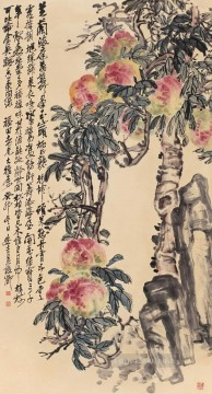 antique Canvas - Wu cangshuo peaches antique Chinese