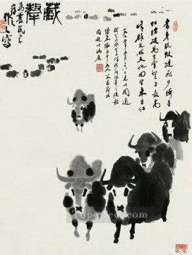 antique Canvas - Wu zuoren team of cattle antique Chinese