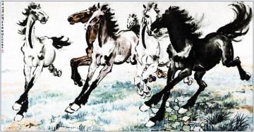 Beihong Painting - Xu Beihong running horses 1 antique Chinese
