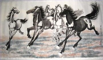 horses Art - Xu Beihong running horses 2 antique Chinese