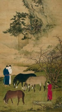 horse canvas - Zhao mengfu horses antique Chinese