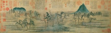 Zhao mengfu landscape antique Chinese Oil Paintings