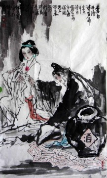 drinking old Chinese Oil Paintings
