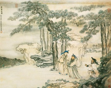 qian xuan assistants of emperor old Chinese Oil Paintings
