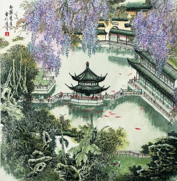 Cao renrong Suzhou Park in spring antique Chinese Oil Paintings