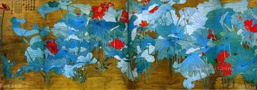 Chinese Painting - Chang dai chien lotus 31 antique Chinese