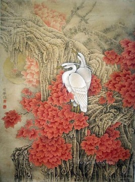 antique Canvas - Egret in mountain antique Chinese
