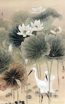 Lily Painting - Egret in waterlily pond antique Chinese