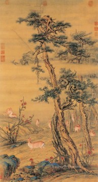 Lang shining deer in autumn antique Chinese Oil Paintings