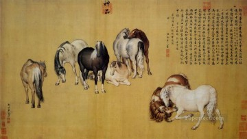 antique Canvas - Lang shining eight horses antique Chinese
