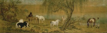 Lang shining horses in countryside antique Chinese Oil Paintings