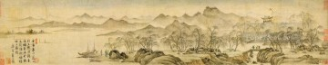 Tang yin scenery antique Chinese Oil Paintings