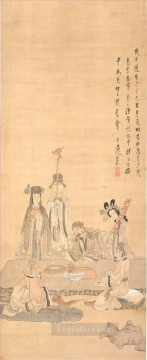 antique Canvas - Chen Hongshou immortals celebrating a birthday antique Chinese