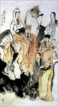 antique Canvas - Qi Baishi figures antique Chinese