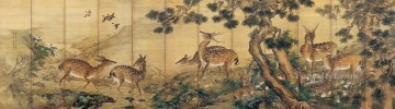 Shenquan deer near brook antique Chinese Oil Paintings