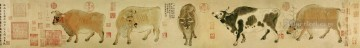 five bulls han huang traditional Chinese Oil Paintings