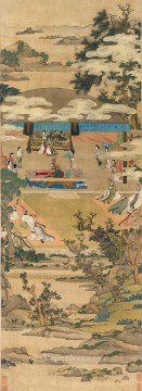 Chen Hongshou lady xuanwen jun giving instructions on classics antique Chinese Oil Paintings