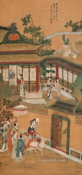 Chen hongshou after wu daozi antique Chinese Oil Paintings