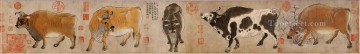 Chinese Painting - Hanhuang five cattle antique Chinese