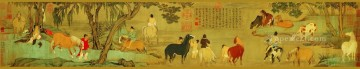 antique Canvas - Zhao mengfu horse bathing antique Chinese