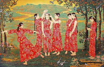 Girls Canvas - country girls antique Chinese