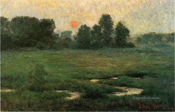 Sun Oil Painting - An August Sunset Prarie Dell landscape John Ottis Adams