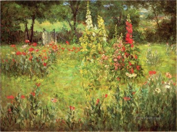 John Ottis Adams Painting - Hollyhocks and Poppies The Hermitage landscape John Ottis Adams