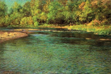 adam Painting - Irridescence of a Shallow Stream landscape John Ottis Adams