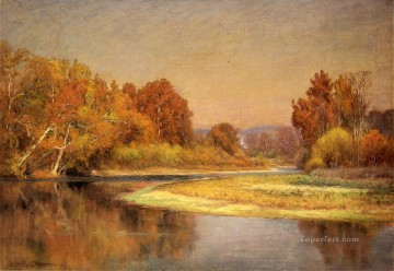 John Ottis Adams Painting - Sycamores on the Whitewater landscape John Ottis Adams
