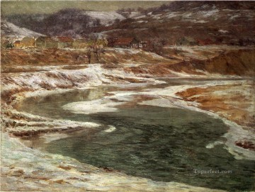 John Ottis Adams Painting - Winter Brookville landscape John Ottis Adams