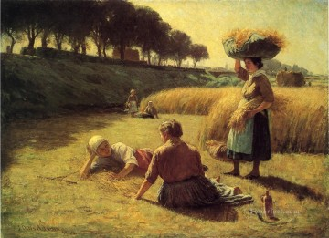 John Ottis Adams Painting - Gleaners at Rest aka Nooning landscape John Ottis Adams
