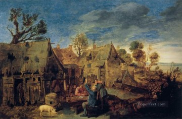 drinking - village scene with men drinking Baroque rural life Adriaen Brouwer