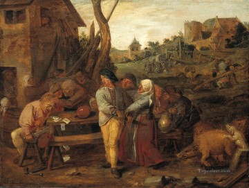 farmers fight party Baroque rural life Adriaen Brouwer Oil Paintings