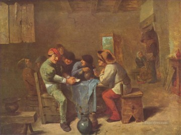 Adriaen Brouwer Painting - peasants playing cards in a tavern Baroque rural life Adriaen Brouwer