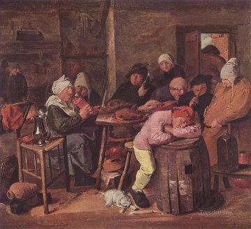 the schlachtfest Baroque rural life Adriaen Brouwer Oil Paintings