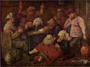 inn with drunken peasants Baroque rural life Adriaen Brouwer Oil Paintings