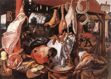 painter Art - Butchers Stall Dutch historical painter Pieter Aertsen
