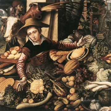 Market Woman With Vegetable Stall Dutch historical painter Pieter Aertsen Oil Paintings