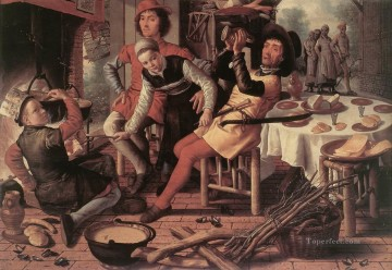 painter Oil Painting - Peasants By The Hearth Dutch historical painter Pieter Aertsen