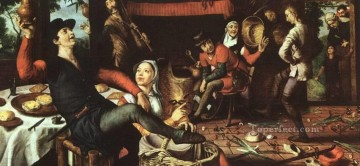 painter Oil Painting - The Egg Dance Dutch historical painter Pieter Aertsen