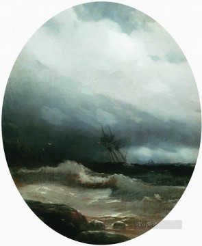 romantic romantism Painting - ship in a storm 1891 Romantic Ivan Aivazovsky Russian