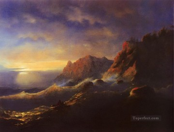 tempest sunset 1856 Romantic Ivan Aivazovsky Russian Oil Paintings